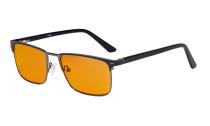 Blaulichtblockierung Brille Damen Herren mit orange getönten Filterlgläser zum Schlafen - Anti Blue Ray Computer Brillen - Schwarz-BB98 Glas LX19010-BB98