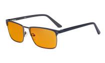 Blaulichtblockierung Brille Damen Herren mit orange getönten Filterlgläser zum Schlafen - Anti Blue Ray Computer Brillen - Blau -BB98 Glas LX19010-BB98