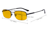 Computer Brillen Herren Damen - Blaulichtblockierung Brillen mit bernsteinfarbener Filtergläser - Memory Titanium Brille - Schwarz-BB90 Glas HP1704