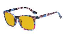 Blaulichtblockierung-Brille mit bernsteinfarbener Filtergläser- Quadratische Nerd-Computerbrillen -Blumenrahmen -BB90 Glas HP1801