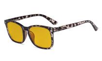 Blaulichtblockierung-Brille mit bernsteinfarbener Filtergläser- Quadratische Nerd-Computerbrillen -Schildpatt rahmen -BB90 Glas HP1801