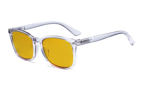 Blaulichtblockierung-Brille mit bernsteinfarbener Filtergläser- Quadratische Nerd-Computerbrillen -Transparenter Rahmen -BB90 Glas HP1801
