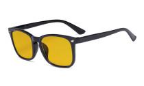 Blaulichtblockierung-Brille mit bernsteinfarbener Filtergläser- Quadratische Nerd-Computerbrillen -Schwarzer Rahmen -BB90 Glas HP1801