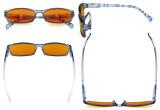 Blaulichtblockierung Brille Damen mit orange getönten Filtergläser zum Schlafen - Damen Pattern bügel Computer Brille- Blauer Rahmen -BB98 Glas DSRT1803