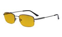 Computer Brillen Herren Damen - Blaulichtblockierung Brillen mit bernsteinfarbener Filtergläser - Memory Titanium Brille - Metallisch Blaugrau  l-BB90 Glas HP1704