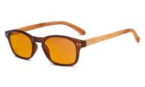 Blue Blocking Glasses - Orange Tinted Fliter Lens Computer Reading Glasses with Bamboo-look Temples - Brown Frame DS034