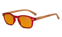 Blue Blocking Glasses - Orange Tinted Fliter Lens Computer Reading Glasses with Bamboo-look Temples - Red Frame DS034