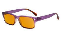 Blue Light Blocking Glasses Women with Orange Tinted Filter Lens for Sleeping - Stylish Computer Reading Glasses - Purple DS108D