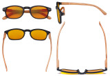 Blue Blocking Glasses - Orange Tinted Fliter Lens Computer Reading Glasses with Bamboo-look Temples - Black Frame DS034
