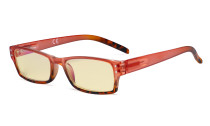 Blue Light Blocking Glasses with Yellow Filter Lens - Fashion Computer Reading Glasses Women - Red TM012D