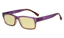 Blue Light Blocking Glasses Women with Yellow Filter Lens - Stylish Computer Reading Glasses - Purple TM108D