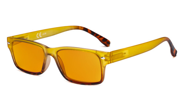 Blue Light Blocking Glasses Women with Orange Tinted Filter Lens for Sleeping - Stylish Computer Reading Glasses - Yellow DS108D