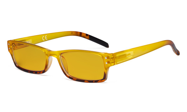 Blue Light Blocking Glasses with Amber Filter Lens - Fashion Computer Reading Glasses Women - Yellow HP012D