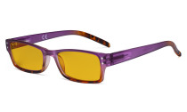 Blue Light Blocking Glasses with Amber Filter Lens - Fashion Computer Reading Glasses Women - Purple HP012D