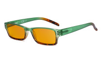 Blue Light Blocking Glasses with Orange Filter Lens for Sleeping  - Fashion Computer Reading Glasses Women - Green DS012D