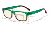 Blue Light Filter Glasses Women - UV420 Stylish Computer Reading Glasses - Green UVR108D