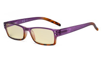 Blue Light Blocking Glasses with Yellow Filter Lens - Fashion Computer Reading Glasses Women - Purple TM012D