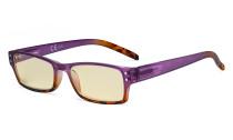Blue Light Blocking Glasses with Yellow Filter Lens - Fashion Computer Reading Glasses Women - Purple TM012D