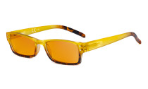 Blue Light Blocking Glasses with Orange Filter Lens for Sleeping  - Fashion Computer Reading Glasses Women - Yellow DS012D