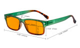 Blue Light Blocking Glasses Women with Orange Tinted Filter Lens for Sleeping - Stylish Computer Reading Glasses - Green DS108D