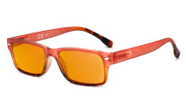 Blue Light Blocking Glasses Women with Orange Tinted Filter Lens for Sleeping - Stylish Computer Reading Glasses - Red DS108D