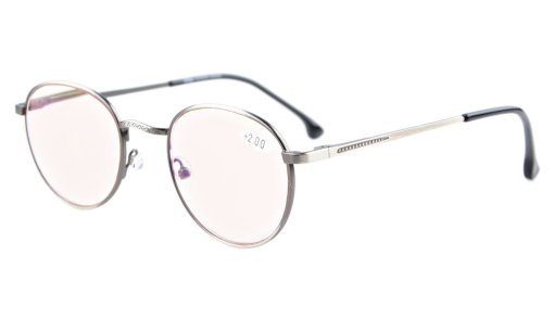 Oval Round Amber Tinted Lenses Computer Glasses Quality Spring Hinges Anti Glare Reading Glasses Anti Silver CG1620