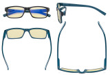 Blaulicht-Schutz Lesebrille mit gelber Filtergläser - Vintage Computerleser. Damen Herren -Schwarz / Blau Bügel-BB60 Glas TMCG032