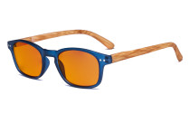 Blaulicht-Schutz Brille - Orange getönte Filter Gläser -Computerbrillen mit  Bambus-Look Bügel-Blau -BB98 Glas DS034