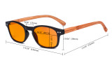 Blaulicht-Schutz Brille - Orange getönte Filter Gläser -Computerbrillen mit  Bambus-Look Bügel-Braun - BB98 Glas DS034