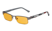 Computer Glasses Blue Light Blocking Half-rim Frame Quality Spring Hinge Colors Flexable Temples Gunmetal-Grey LX17005
