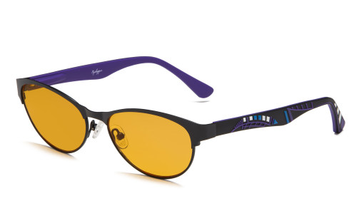 Computer Reading Glasses Blue Light Blocking Cat-eye Style Frame Colors Rubber Temples for Women Black-Purple LX17004