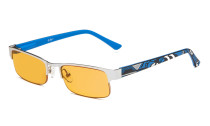 Computer Glasses Blue Light Blocking Half-rim Frame Quality Spring Hinge Colors Flexable Temples Silver-Blue LX17005