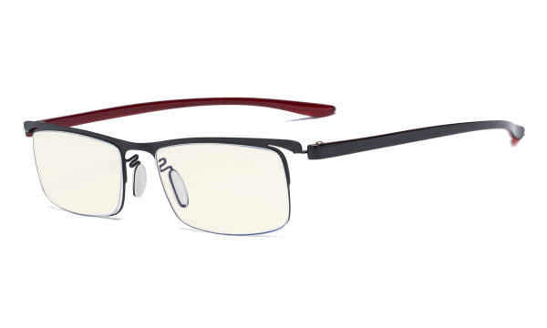 Blue Light Filter Glasses - Computer Readers - UV420 Semi-rim Reading Glasses Women Men - Black Frame UVR12625