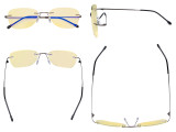 Blue Light Blocking Glasses Women with Yellow Filter Lens - Rimless Computer Reading Glasses Gunmetal TMWK9907B