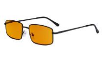 Blue Light Blocking Computer Glasses with Orange Tinted Filter Lens for Sleeping - Anti Blue Glare Reading Glasses Black DS15023