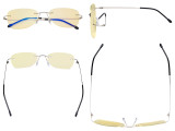 Blue Light Blocking Glasses Women with Yellow Filter Lens - Rimless Computer Reading Glasses Silver TMWK9907B