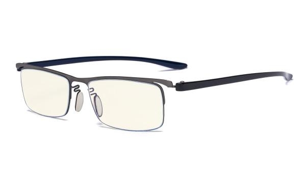Blue Light Filter Glasses - Computer Readers - UV420 Semi-rim Reading Glasses Women Men - Gunmetal Frame UVR12625
