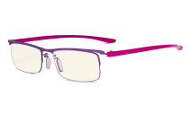 Blue Light Filter Glasses - Computer Readers - UV420 Semi-rim Reading Glasses Women Men - Purple Frame UVR12625