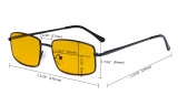 Blue Light Blocking Computer Glasses with Amber Tinted Filter Lens - Anti Blue Glare Reading Glasses Black HPCG15023