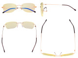 Blue Light Blocking Glasses Women with Yellow Filter Lens - Rimless Computer Reading Glasses Gold TMWK9907B