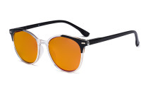 Ladies Oversized Blue Blocking Computer Reading Glasses with Orange Tinted Filter Lens for Sleeping  - Large Round Computer Readers Women - Black DS9002C