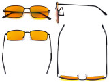 Blue Light Blocking Computer Glasses with Orange Tinted Filter Lens for Sleeping - Anti Blue Glare Reading Glasses Black DS15023