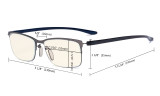 Computer Glasses - Blue Light Filter Readers - UV420 Semi-rim Reading Glasses Women - Black Frame UVR12801