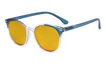 Ladies Oversized Blue Light Blocking Reading Glasses with Amber Tinted Filter Lens - Large Round Computer Readers Women - Blue HP9002C