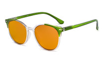 Ladies Oversized Blue Blocking Computer Reading Glasses with Orange Tinted Filter Lens for Sleeping  - Large Round Computer Readers Women - Green DS9002C