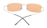 Titanium Rimless Dark Yellow Lenses Computer Eyeglasses Men Women Silver CG1509