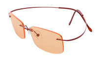 Titanium Rimless Dark Yellow Lenses Computer Eyeglasses Men Women Red CG1509