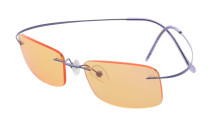 Titanium Rimless Dark Yellow Lenses Computer Eyeglasses Men Women Purple CG1509