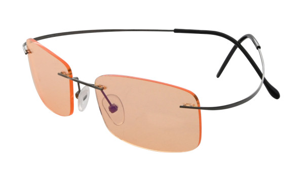 Titanium Rimless Dark Yellow Lenses Computer Eyeglasses Men Women Gunmetal CG1509