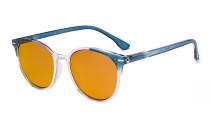 Übergroße blaue Schutzbrille für Damen mit Orange getöntem Filterglas zum Schlafen - Große runde Computerbrillen für Damen -Blau -BB98 Gläser DS9002C